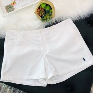 Ralph Lauren White Cotton Shorts Polo Embroidered